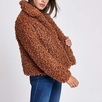 River Island Womens Brown faux fur swing coat