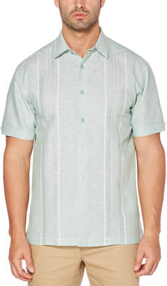 Cubavera Big & Tall Embroidered Yarn Dye Panel Shirt