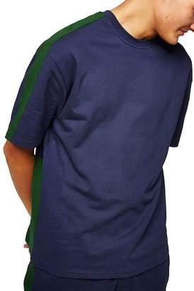 Topman Short Sleeve Panel Classic Fit Sweatshirt