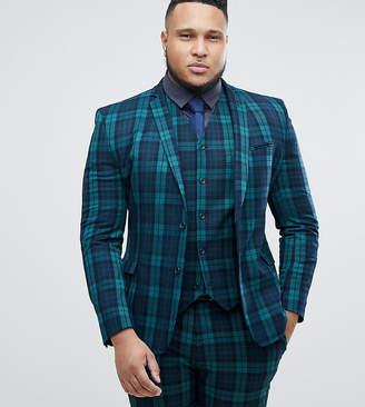 1d0b8fe9eb1 Asos Design PLUS Super Skinny Suit Jacket In Blackwatch Plaid