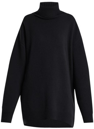 Raey Displaced Sleeve Roll Neck Wool Sweater - Womens - Navy