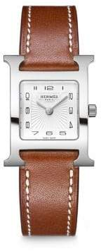 Hermes Heure H PM Stainless Steel& Leather Strap Watch