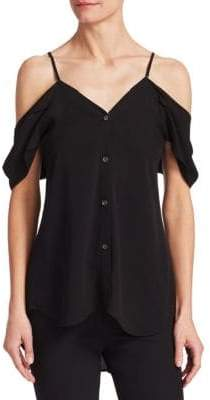 Theory Off-The-Shoulder Button-Down Silk Top