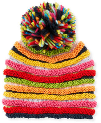 Grevi Stripe Knit Beanie Hat w/ Pompom, Multicolor