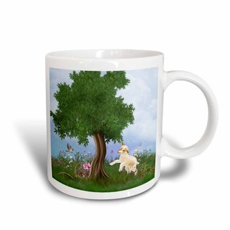 3dRose A Easter lamb jumping in the flower meadow and find a Easter basket - Ceramic Mug, 11-ounce