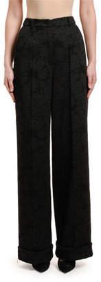 Dolce & Gabbana Rose Stretch-Jacquard Wide-Leg Pants