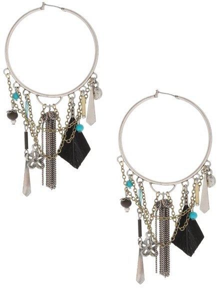 Tribal Resort Charm Hoops