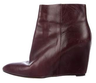 Brian Atwood Leather Wedge Boots