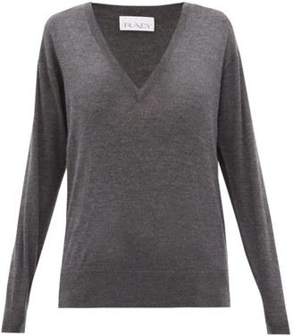 Raey V Neck Fine Knit Cashmere Sweater - Womens - Charcoal