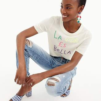 "J.Crew Tippi short-sleeve sweater in ""La Vida Es Bella"""