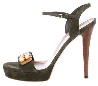 Gucci Suede Bamboo Sandals