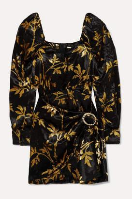 Dodo Bar Or Mona Draped Metallic Velvet-jacquard Mini Dress - Black