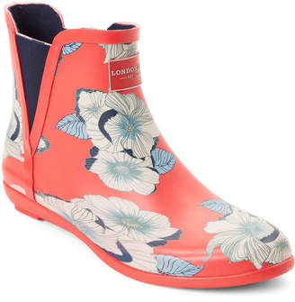 London Fog Pearls Red Piccadilly Demi Wedge Rain Boots