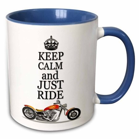 3dRose Keep calm and just ride. Cool motorcycles saying. - Two Tone Blue Mug, 11-ounce