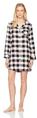 Mae Women's Cozy Flannel Notch Collar Sleep Shirt with Piping
