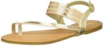 Qupid Women's Flat Sandal with Toe Ring