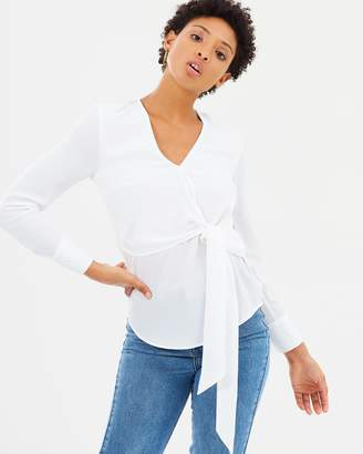 Warehouse Long Sleeve Wrap Top