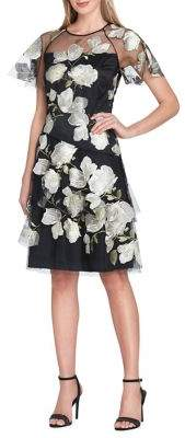 Tahari Arthur S. Levine Petite Floral-Embroidered Fit-&-Flare Dress