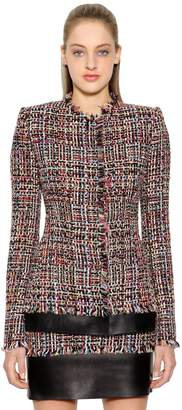 Alexander McQueen Light Tweed Jacket W/ Leather Details