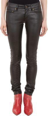 Saint Laurent Faux-Leather Skinny Jeans
