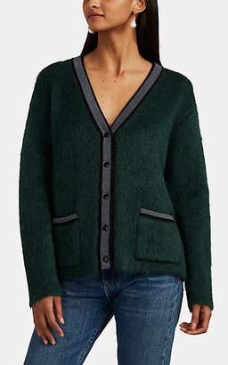 Barneys New York Women's Stripe-Trimmed Wool-Blend Cardigan - Green