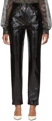 Saint Laurent Black Vinyl Skinny Trousers
