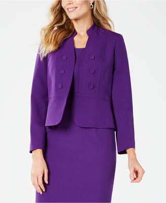 Kasper Double-Breasted Peplum-Hem Blazer