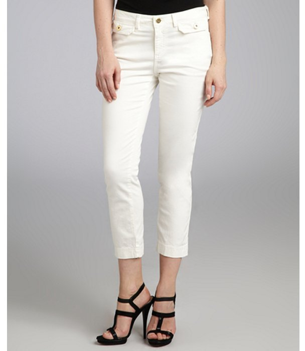 Robert Rodriguez ivory stretch denim cropped twill jeans