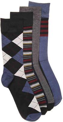Aston Grey Argyle Crew Socks - 4 Pack - Men's