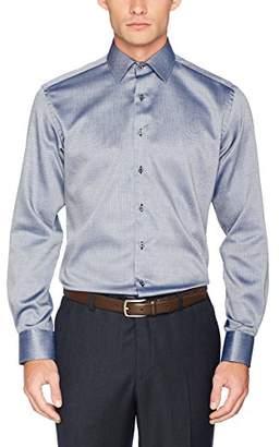 Eterna Men's Fit Langarm Marine strukturiert mit Modern Kent-Kragen Formal Shirt, Blau 18