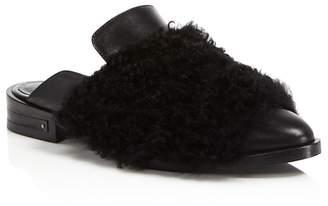 Freda Salvador Dorinda Fur & Leather Pointed Toe Mules