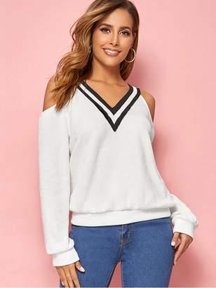 Shein Cold Shoulder Striped Trim Sweatshirt