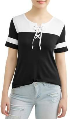 No Boundaries Juniors' Lace-Up Varsity Stripe Colorblock Short Sleeve T-Shirt