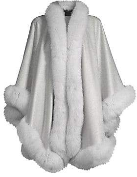 Sofia Cashmere Women's Fox Fur & Cashmere U-Cape