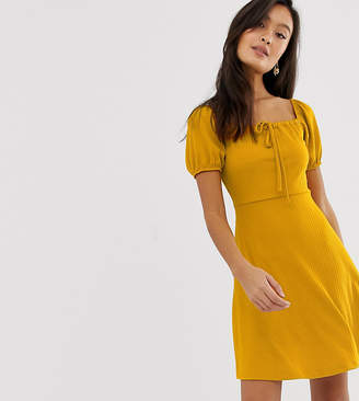 New Look jersey skater dress in mustard