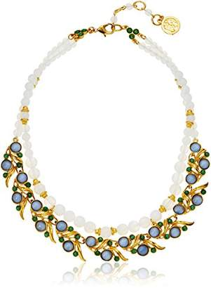 Ben-Amun Jewelry Row Moon Bead with Gold Leaf Links Strand Necklace