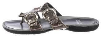 Stuart Weitzman Embossed Slide Sandals