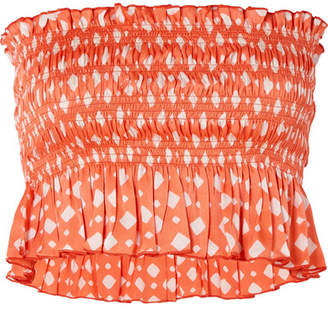 Cloe Cassandro - Billie Cropped Smocked Printed Silk Top - Coral