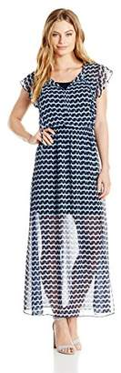 London Times Women's Short Sleeve Round Neck Chiffon Maxi Dress