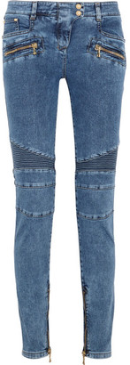 Balmain - Moto-style Mid-rise Skinny Jeans - Blue $1,160 thestylecure.com
