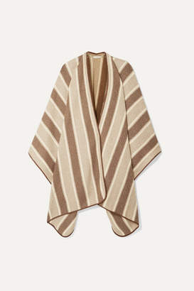 The Row Merlyn Suede-trimmed Striped Cashmere And Silk-blend Cape - Brown