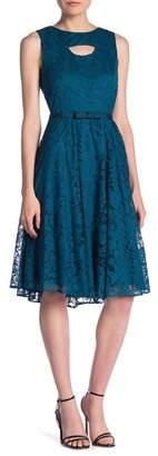Gabby Skye Sleeveless Front Cutout Lace Knit Midi Dress