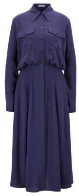 BOSS Hugo Midi shirt dress in crinkle crepe gathered waist 4 Dark Blue