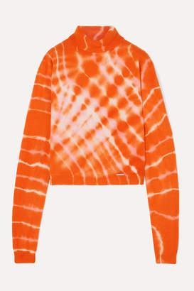 Aries Tie-dyed Wool Turtleneck Sweater - Orange