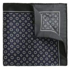 BOSS Hugo Tile-Patterned Italian Silk Pocket Square One Size Dark Blue