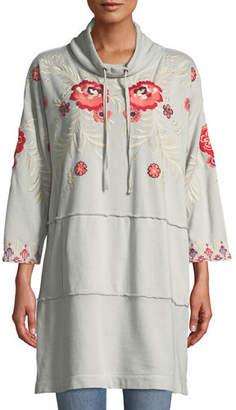 Johnny Was Maya Mock-Neck French-Terry Sweatshirt Dress w/ Embroidery