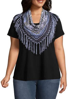 Unity World Wear Short Sleeve Knit Top with Fringe Scarf - Plus