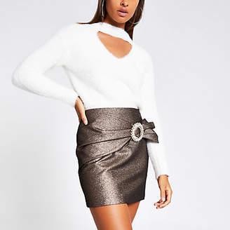 River Island Bronze wrap diamante buckle mini skirt