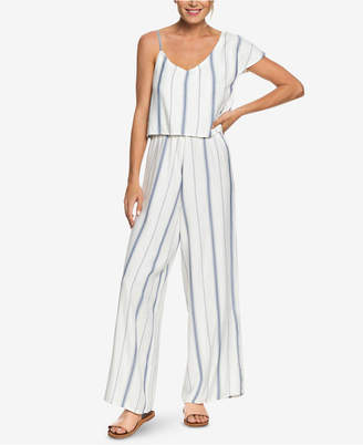 Roxy Juniors' One-Shoulder Striped Jumpsuit