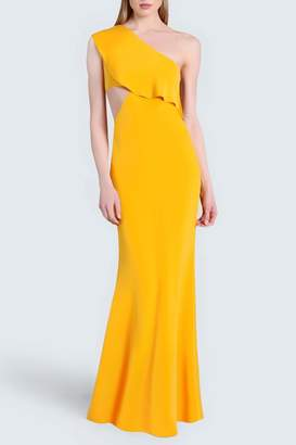 Bea Yuk Mui Cushnie Saffron One-Shoulder Gown